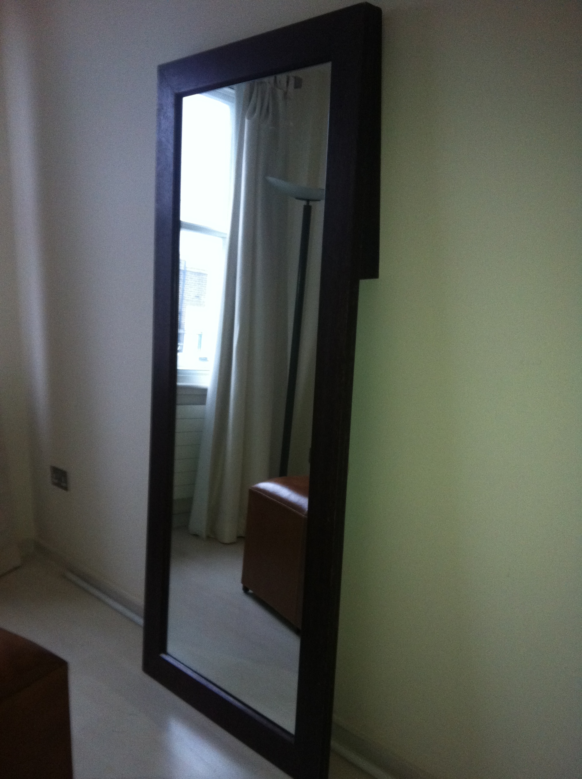 Floor standing full length mirror with dark timber for Cool full length mirror