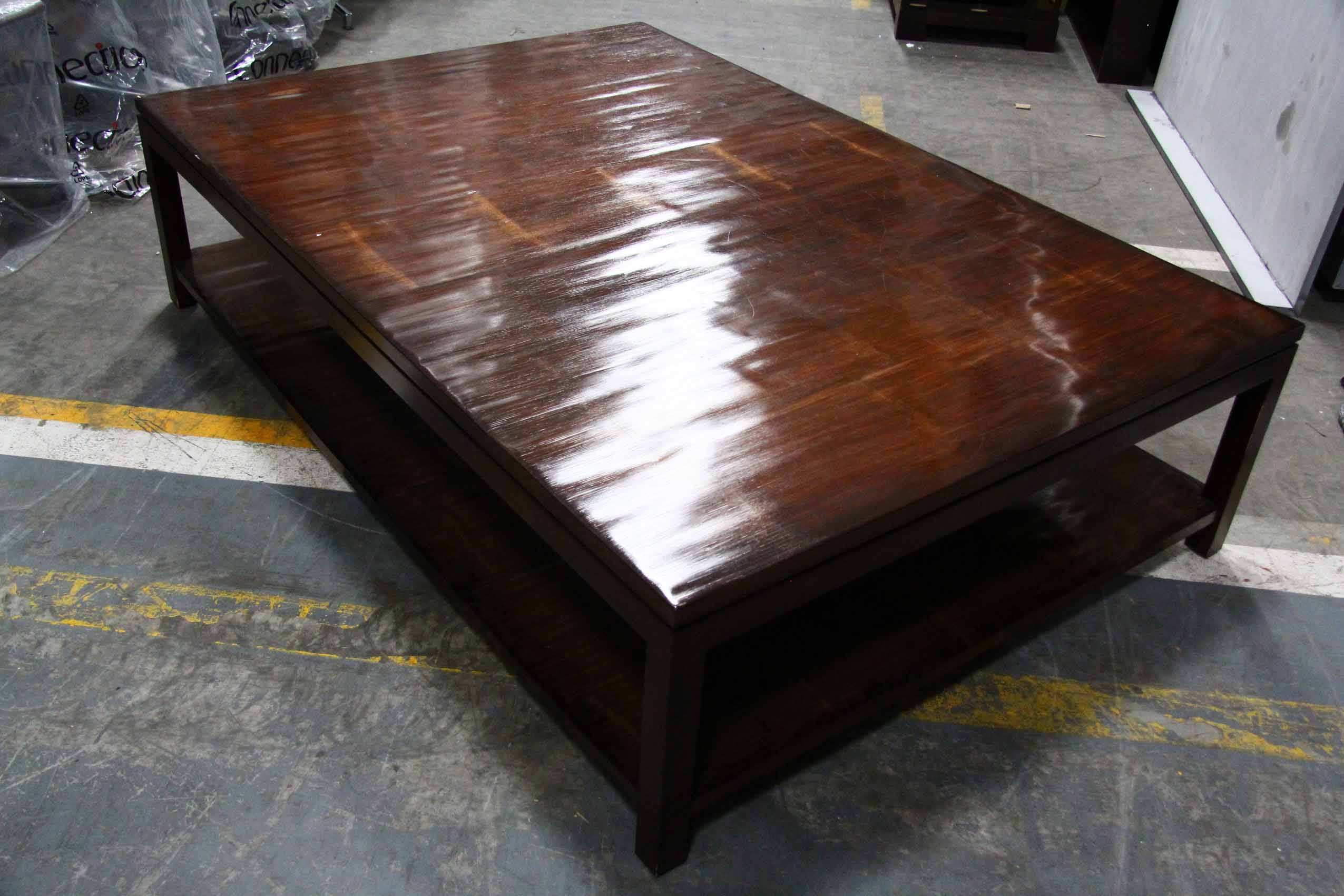 Large wooden coffee table with under shelf latitude for Large wooden coffee tables